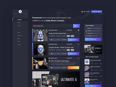Kreasound dark interface clean card responsive website music ux ui
