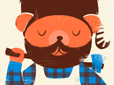 Lumber Jack lumber jack teddy bear axe plaid bunyon texture koonskin beard