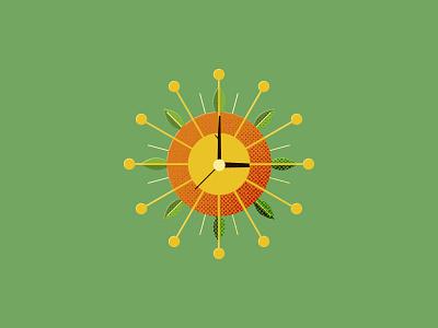 Forest Clock hands log morning time clock sun