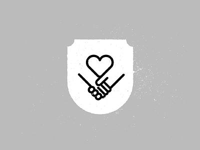 Care Crest shield texture monogram crest parents care program heart love holding hands