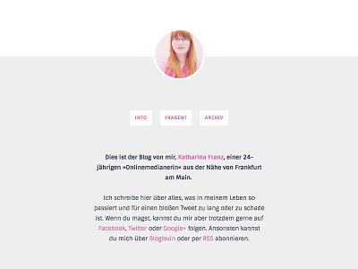 blog.katharinafranz.com – header part blog layout one column minimalism grey pink rosa header