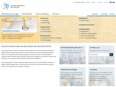 Possible redesign of a medical website relaunch redesign white collar clinic medical
