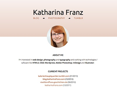 katharinafranz.com v2 css3 html gradient opacity vcard