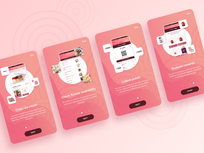 App onboarding after effects pink design geometric minimal ice-cream food and drink food app ui animation animation tutorial onboarding application app ui