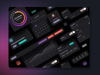 UI elements ux  ui dark theme dark ui system visual design product design app dashboad ux design ux ui