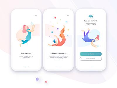 Memo – memory training app web digital art app illustration ux ui