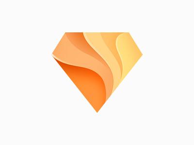 Diamond sketch waves design diamond logo illustration icon