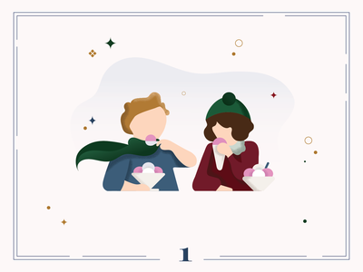 Christmas Calendar 🍧🍦Day 1 christmas card calendar winter digital art illustraion
