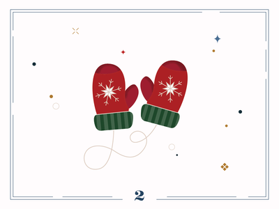 Christmas Calendar ❄️Day 2 digital art christmas card gloves ui calendar christmas winter illustration