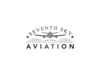 7th Sky Aviation - Logo Design retro aviation sky 7th design logo