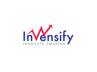 Invensify - Logo Design branding blue red invensify design logo
