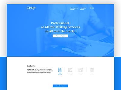 Writing Factory - Web Design blue services design website web factory writing