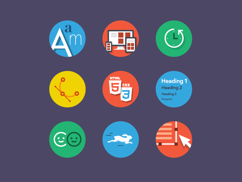 Features icons wysiwyg speed html vectors backups web fonts responsive colors flat icons