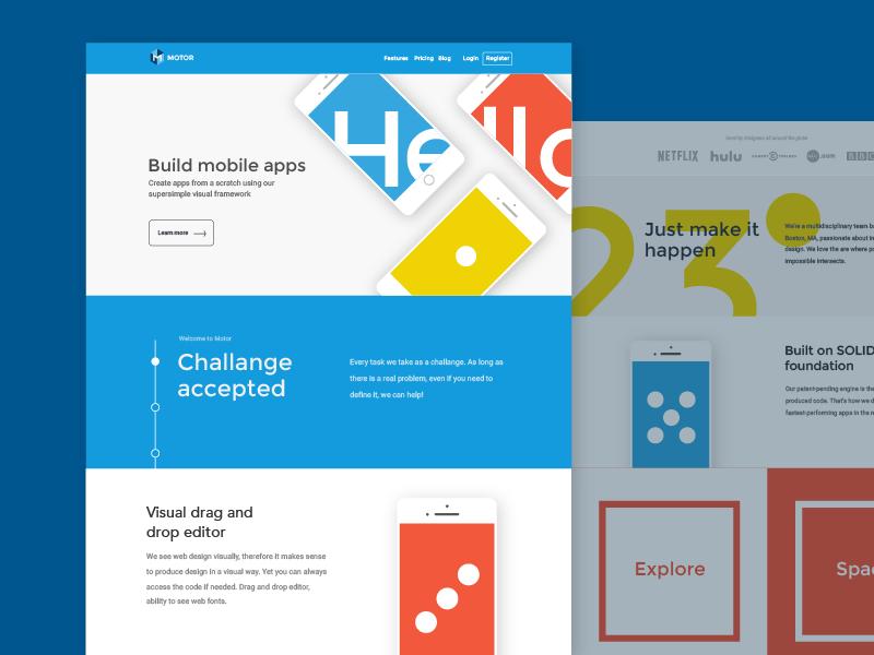 Exploring colors in web app phone hello website web design landing page colors
