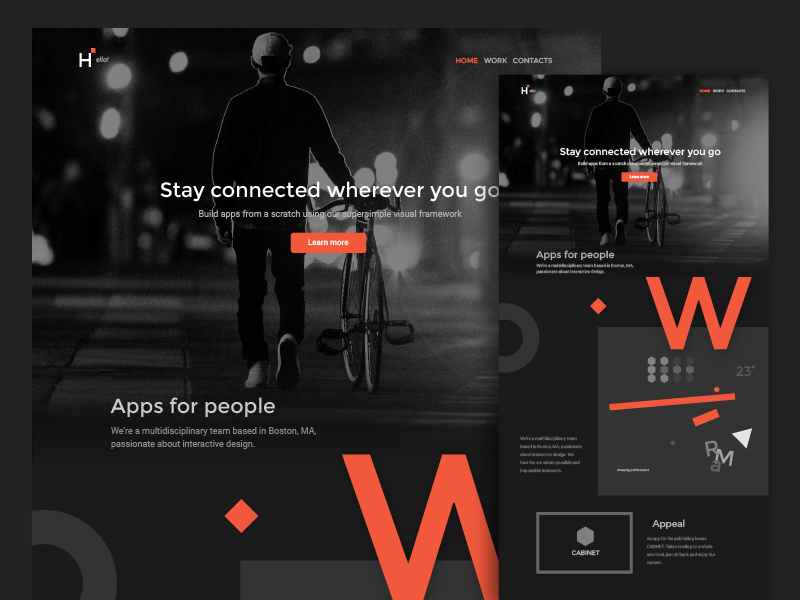 Exploring: colors in web 3 letters dark website web design landing page colors
