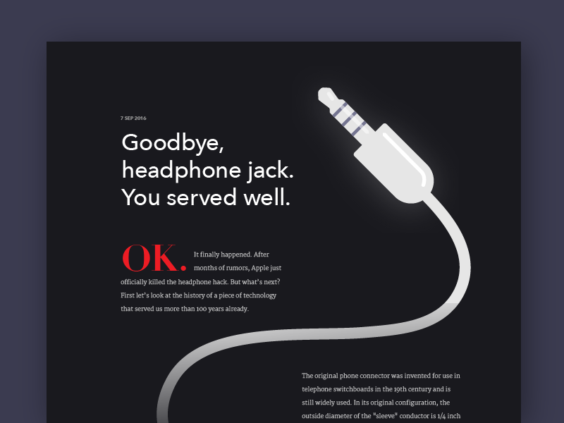 Goodbye, headphone jack. website publication apple headphone jack