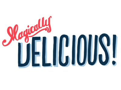 Magically Delicious! (Yum) custom lettering hand drawn script sans drawing experiment class delicious fun typography handlettering hand lettering