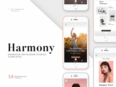 Harmony — Animated Instagram Story Templates animation story templates social media kit social media promotional promotion photoshop template photoshop stories marketing kit lifestyle instagram templates instagram story instagram stories instagram influencer fashion ecommerce clean branding animated template