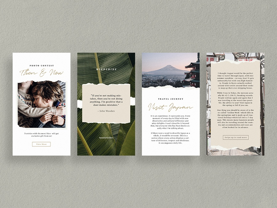 Ripped Papers Instagram Stories Templates by Visualmade on
