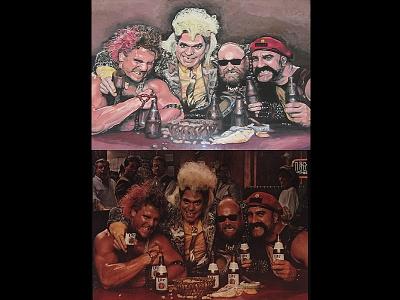 Beer Ad interpreted by Nate McClain ad wrestling wrestler pop art painting interpretation comedian beer advertisement 1980s