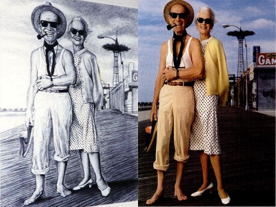 Jessica Tandy & Hume Cronyn sunglasses drawing black and white boardwalk atlantic city couple interpretation advertisement ad portrait