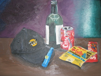 Still Life Candy still life soda skittles kazoo impressionism hat hard rock cafe coca cola candy bottle mr goodbar