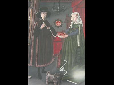 Version of Arnolfini Portrait marriage couple spaghetti pasta house art contest award winning arnolfini jan van eyck version painting