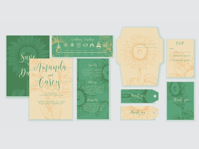 Sunflower Wedding invitation cards