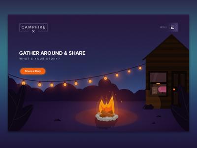 Campfire Concept landing page design beautiful illustration wilderness night scene campfire illustration ui ux