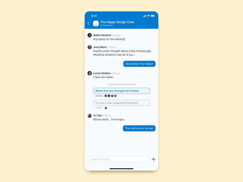 Daily UI Challenge 013 – Direct Messaging daily ui 13 chat app message app ios mobile daily ui 013 daily ui challenge vote messaging messenger chat