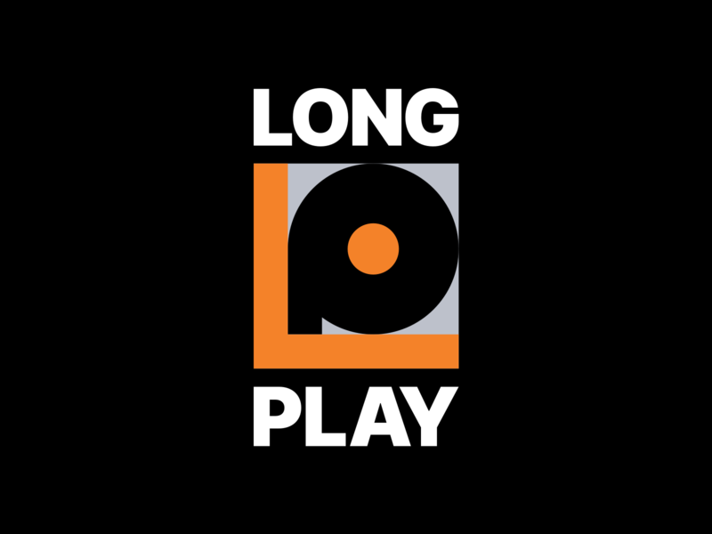 Long play bold font mark letter abstract logo phonograph music lp long play