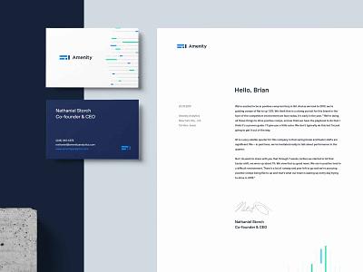 Amenity Analytics Stationary startup machine learning finance artificialintelligence application brand identity brand