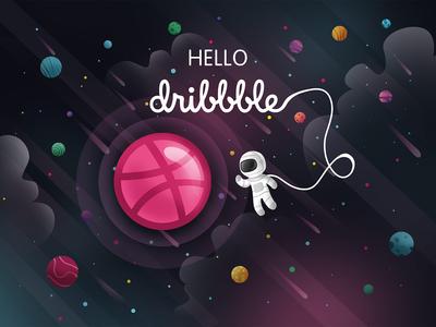 Hello dribbble astronaut pixeren debutshot debuts digitalwork digitalartist digitalart light neon color hellodribbble art dribbble ball design debut shots shot space digital 2d illustration