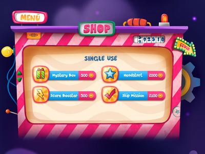 Mir on tv / Shop menü 2d menu design shop ui design ui artist ui art pixeren color digitalart design neon light illustraion gameart gameapp game 2d art art bar menu