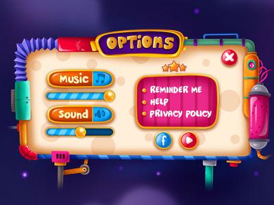 Mir on tv / Options menü mechanic cartoon color neon digitalart shot pixeren light art buttons menü concept gameart ui ios illustraion icon game design app