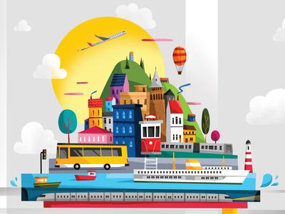 Istanbul illustration eren dedeleroglu pixeren art color 2d digital design sun flat flatdesign bus ship tramvay car map traveling travel illustration city istanbul