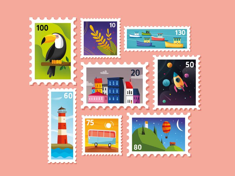 Stamp post editorial adobe city boat lighthouse travel leaf parrot mail letter flatdesign flat shot vector illustration 2d digitalart color art