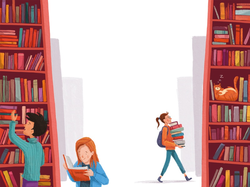 Keep reading childrens read reading research magazine editorial illustration editorial color art design digitalart illustration shot 2d silence people cat books book library