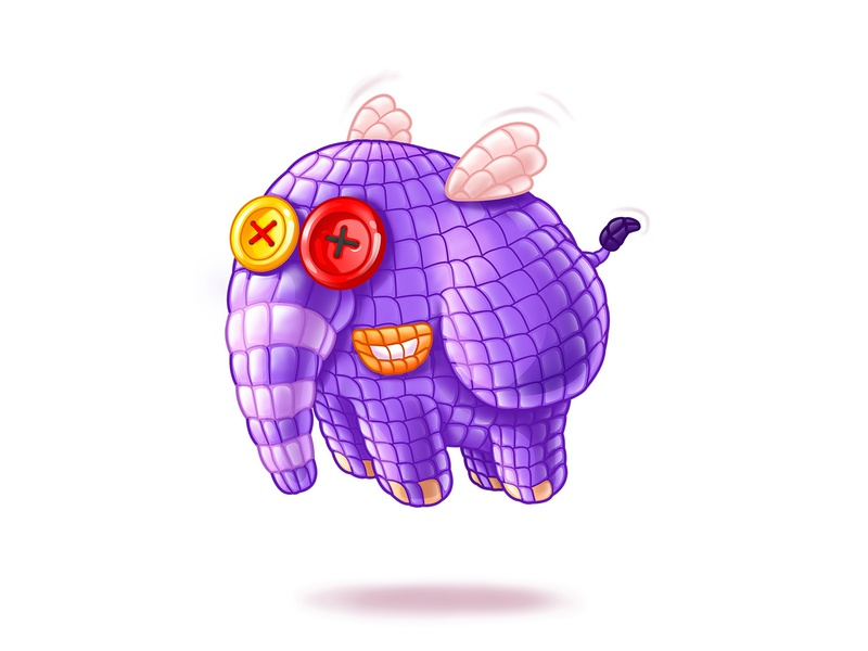 amigurumi elephant sweets elephant wing button character design purple fly animal pixeren pixel ui art cartoon digitalartist art gameart game shot ui 2d illustration
