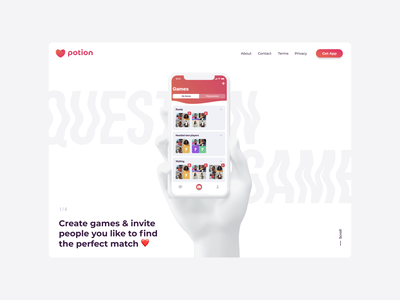 Potion - dating app. Promo page. ios app liquid effect web