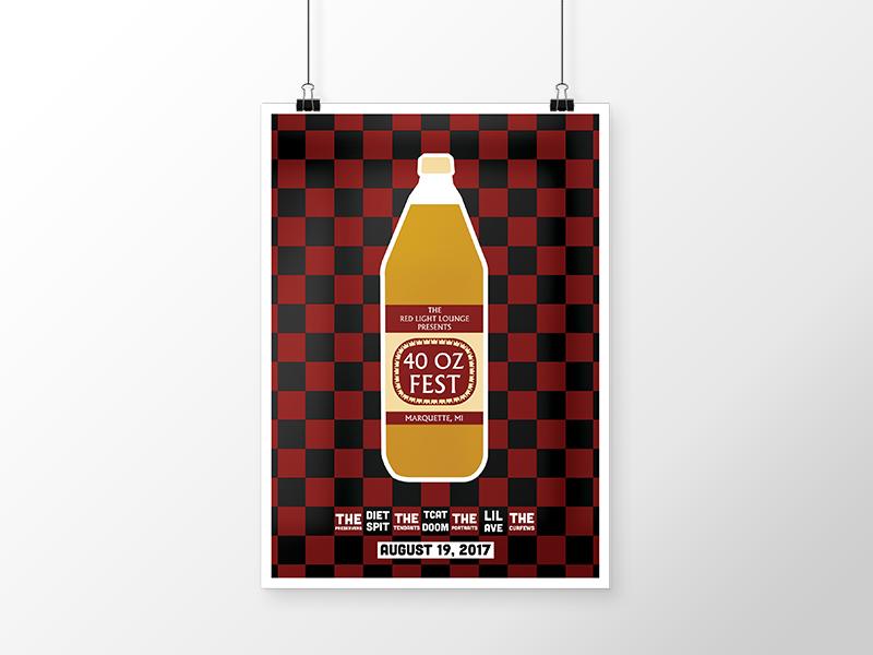 40 OZ FEST malt liquor olde english 40 oz gig poster concert poster house show concert