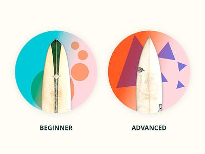 Select Level ux ui playfull sport surf dashboard board level app illustration icon