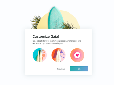 Gaia - introduction pop-up icon illustration app level board dashboard surf sport playfull ui ftux ux