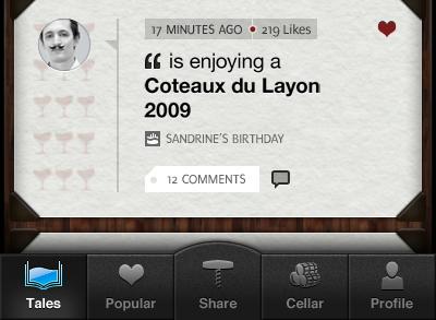 Winetales iOs app design. ios feed tabbar winetales app design