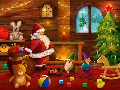 Christmas box package illustration design
