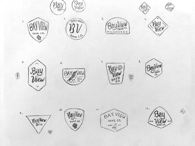 Bay View Beer Company   Sketches 2 brand beer brewing bay view sean quinn pen ink illustration branding design logo hand drawn drawing illustration