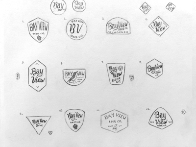 Bay View Beer Company | Sketches 2 brand beer brewing bay view sean quinn pen ink illustration branding design logo hand drawn drawing illustration