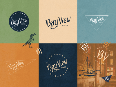 Bay View Beer Company   Brand Exploration bay view milwaukee sean quinn brewing beer typography hand drawn vector branding logo design drawing illustration