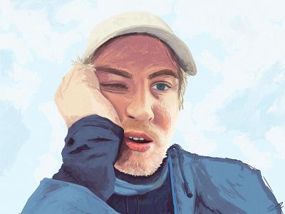 2020 self portrait... painting digital painting digital art photoshop blue portrait self portrait art illustration drawing