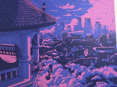 Witches meeting MPLS hill tower minnesota minneapolis parks art print screen screenprint purple trees clouds flying broom sky city halloween witches witch poster